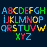 Cartoon bubble font. Colorful letters with glint. Royalty Free Stock Photos