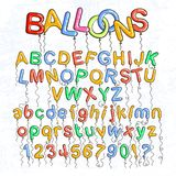 Cartoon bubble font. Bubble letters with glint. Vector characters collection Royalty Free Stock Image