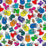 Cartoon bubble numbers seamless pattern Stock Image