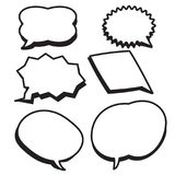 Cartoon bubbles text boxes set with blank text. Speech vector illustration.Set of comic chat bubbles Stock Photos