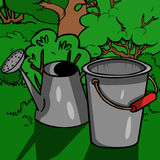 Cartoon Bucket on green grass Royalty Free Stock Images