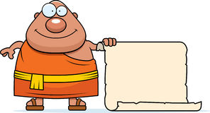 Cartoon Buddhist Monk Sign Royalty Free Stock Image