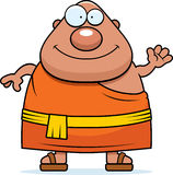 Cartoon Buddhist Monk Waving Royalty Free Stock Photos