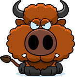 Cartoon Buffalo Angry. A cartoon illustration of a buffalo with an angry expression vector illustration