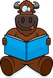 Cartoon Buffalo Reading Stock Photo