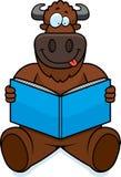 Cartoon Buffalo Reading Stock Photo
