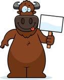 Cartoon Buffalo Sign Royalty Free Stock Photography
