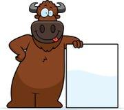 Cartoon Buffalo Sign Royalty Free Stock Photos
