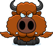 Cartoon Buffalo Wings Angry. A cartoon illustration of a winged buffalo with an angry expression royalty free illustration