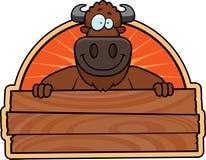 Cartoon Buffalo Wood Sign Royalty Free Stock Image
