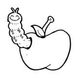 Cartoon bug eating apple Stock Photography