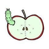 Cartoon bug eating apple Royalty Free Stock Image