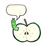 Cartoon bug eating apple with speech bubble Royalty Free Stock Image