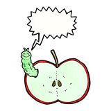Cartoon bug eating apple with speech bubble Royalty Free Stock Photography