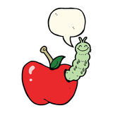 Cartoon bug eating apple with speech bubble Royalty Free Stock Photo