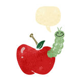 Cartoon bug eating apple with speech bubble Stock Photo