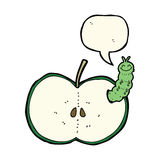 Cartoon bug eating apple with speech bubble Royalty Free Stock Images