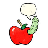 Cartoon bug eating apple with speech bubble Stock Image