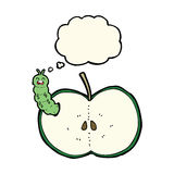 Cartoon bug eating apple with thought bubble Royalty Free Stock Photos