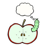 Cartoon bug eating apple with thought bubble Royalty Free Stock Photo