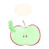 Cartoon bug eating apple with thought bubble Stock Photography
