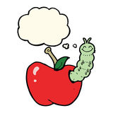 Cartoon bug eating apple with thought bubble Royalty Free Stock Images