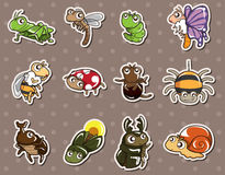 Cartoon bug stickers Royalty Free Stock Photography