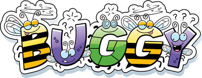 Cartoon Buggy Text. A cartoon illustration of the text Buggy with a bug theme vector illustration