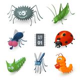 Cartoon bugs set. There are spider, fly, grasshopper, mosquito, two caterpillars and ladybug Royalty Free Stock Images