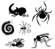 Cartoon Bugs silhouettes. Royalty Free Stock Photos
