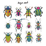 Cartoon bugs in vector set. Set of cute little cartoon insects in doodle style. Funny bugs set. Funny insects in childish set Stock Image