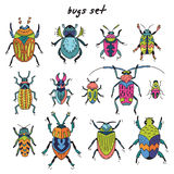 Cartoon bugs in vector set. Set of cute little cartoon insects in doodle style. Funny bugs set. Funny insects in childish set Royalty Free Stock Image