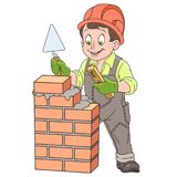 Cartoon builder around brick wall Royalty Free Stock Photography