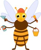 Cartoon builder bee. Isolated on white background royalty free illustration