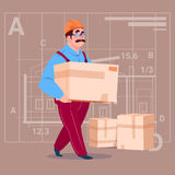 Cartoon Builder Carry Box Wearing Uniform And Helmet Construction Worker Over Abstract Plan Background Male Workman. Flat Vector Illustration Stock Photography