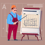 Cartoon Builder Explain Plan Of Building Blueprint Wearing Uniform And Helmet Construction Worker Contractor Male Royalty Free Stock Photo
