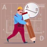 Cartoon Builder Hold Big Pencil Creating New Blueprint Architect Wearing Uniform And Helmet Construction Worker. Flat Vector Illustration Stock Photos