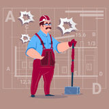 Cartoon Builder Holding Big Hammer Construction Worker Over Abstract Plan Background Male Workman Stock Photography