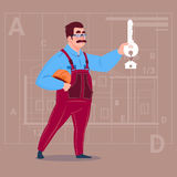 Cartoon Builder Holding Key From New House Over Abstract Plan Background Male Workman Stock Images