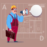 Cartoon Builder Holding Megaphone Making Announcement Construction Worker Over Abstract Plan Background Male Workman Royalty Free Stock Photo