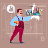 Cartoon Builder Holding Small House Ready Real Estate Over Abstract Plan Background Male Workman Royalty Free Stock Images