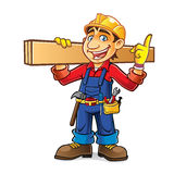 Cartoon Builder Idea. Cartoon builder was shouldering a wooden board while enthusiastically get the idea Stock Images