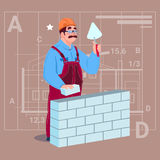 Cartoon Builder Laying Brick Wall Hold Spatula Over Abstract Plan Background Male Workman Royalty Free Stock Image