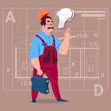 Cartoon Builder With Light Bulb Wearing Uniform And Helmet Construction Worker Over Abstract Plan Background Male. Workman Flat Vector Illustration Stock Photo