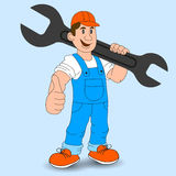 Cartoon builder, mechanic worker with a wrench, vector illustration. Royalty Free Stock Photo