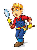 Cartoon Builder Searching Stock Image