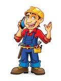 Cartoon Builder Talking Stock Image