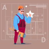 Cartoon Builder Wearing Uniform And Helmet Construction Worker Over Abstract Plan Background Male Workman Stock Photography