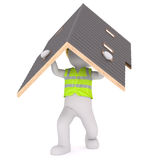 Cartoon Builder Wearing Vest and Carrying Roof Stock Photography