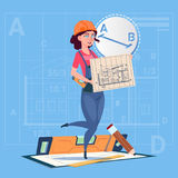 Cartoon Builder Woman Hold Plan Of Building Blueprint Wearing Uniform And Helmet Construction Worker Contractor. Flat Vector Illustration Royalty Free Stock Images